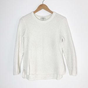 MADEWELL Off White Thick Knit Crew Neck Sweater